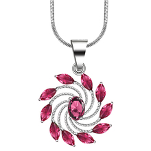 Fashion red corundum vintage flower pendant necklace Jewelry Wholesale silver plated wedding Gift For Women with snake chain(China)