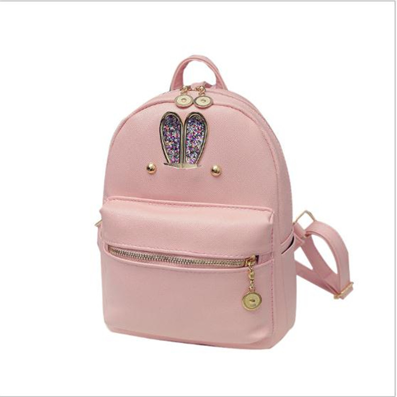 women backpack new rabbit ears  fashion casual PU ladies backpacks candy color Korea school style solid student mini backpack<br><br>Aliexpress