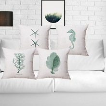 Marine Organism Cushion Cover Pillowcase Cotton Linen Chair Seat Square Quote 45x45cm Pillow Cover Home Living Textile(China)