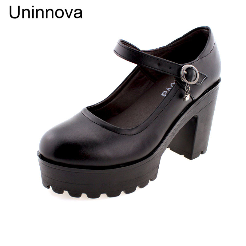 Uninnova Sapato Feminino Womens Genuine Leather Shoes High Platform Black White Shoes Plus Size 33-42 WP026-1<br>