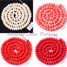 "4x6mm Rondelle Natural Coral Smooth Gem Stone Beads Spacer Strand 15"" For DIY Necklace Bracelat Jewelry Making,Free Shipping"