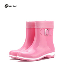 Fengnong New Removed Cover Rain Boots Warm British Girl's Platform Motorcycle All-season Soft Leather Buckle Women Shoes w035