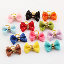 Armi store Handmade Lovely White Polka Dot ribbon Ribbon Dog Bow Grooming Bows For Dogs 6021015 Pet Hair Wholesale