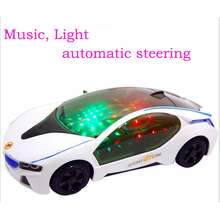 light-up toy I8 car model Universal wheel car Brinquedos Curise Intelligent steering Electronic toy Light Emitting Electric cars(China)