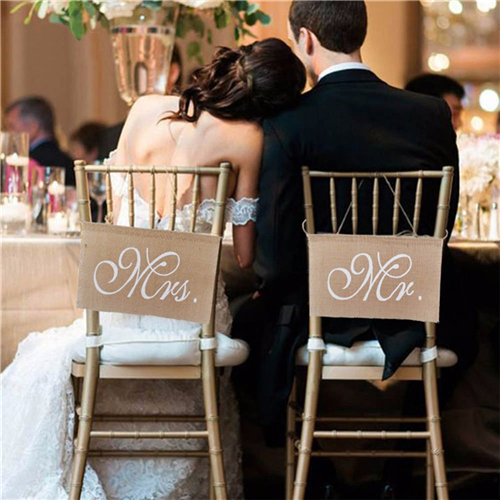 Party Supply Rustic Wedding Banners Signs Mr and Mrs Chair Sign Vintage Wedding Decoration Burlap Chair Sign for Groom and Bride