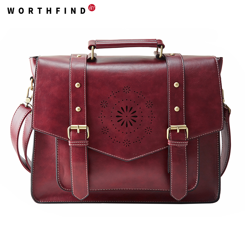 WORTHFIND New Women PU Leather Handbag High Quality Retro Women Messenger Bags Famous Designer Leather Briefcase Shoulder Bag<br><br>Aliexpress