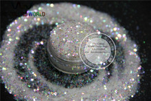 NO.22 1mm Iridescent  white with colorful light Color Glitter Powder for nail,tatto art decoration DIY flakes