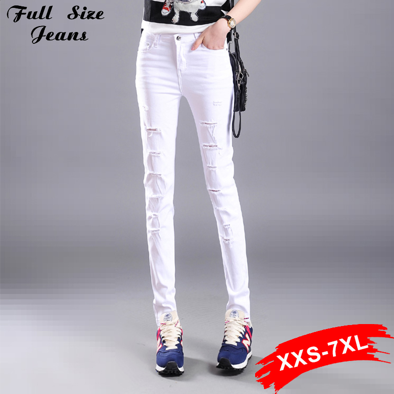 Hot Jeans Fall Fashion Plus Size Stretch Skinny Long White Denim Jeans Elastic 4Xl Xs 3Xl 6Xl 7Xl High Waist Ripped Pencil PantsОдежда и ак�е��уары<br><br><br>Aliexpress