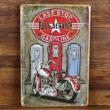 "RO-X-0485 free ship vintage metal tin signs"" full service of motorcycle"" painting home decor poster wall art craft 20X30cm(China)"