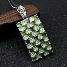 Natural green tourmaline gem pendant S925 silver Natural gemstone Pendant Necklace trendy large Square women party fine jewelry(China)