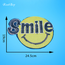 2pcs/lot Big Smile Patches Brand Shine Sequin 3D Stickers Embroidery Motif Applique Garment Kids Women DIY Clothes Badge SC3375