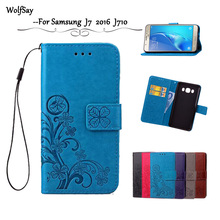 Wolfsay For Samsung Galaxy J7 2016 Leather Case J710 J710F Flip Wallet For Samsung J7 2016 Case Silicone Cover Card Holder &<