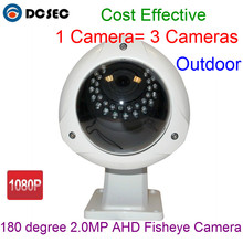 Free shipping Outdoor HD 1080P 2.0MP 180 degree wide angle view AHD Panoramic Fisheye cctv security Camera with 30pcs IR leds