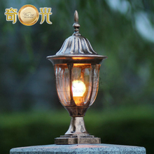 220V/110V black/bronze garden light fitting aluminum outdoor pillar wall lamp post e27 led bulb included eclairage exterieur
