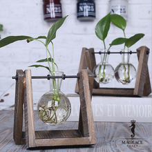 Modern Style 3 Types Glass Tabletop Plant Bonsai Flower Wedding Decorative Vase with Wooden Tray Home Decoration Accessories