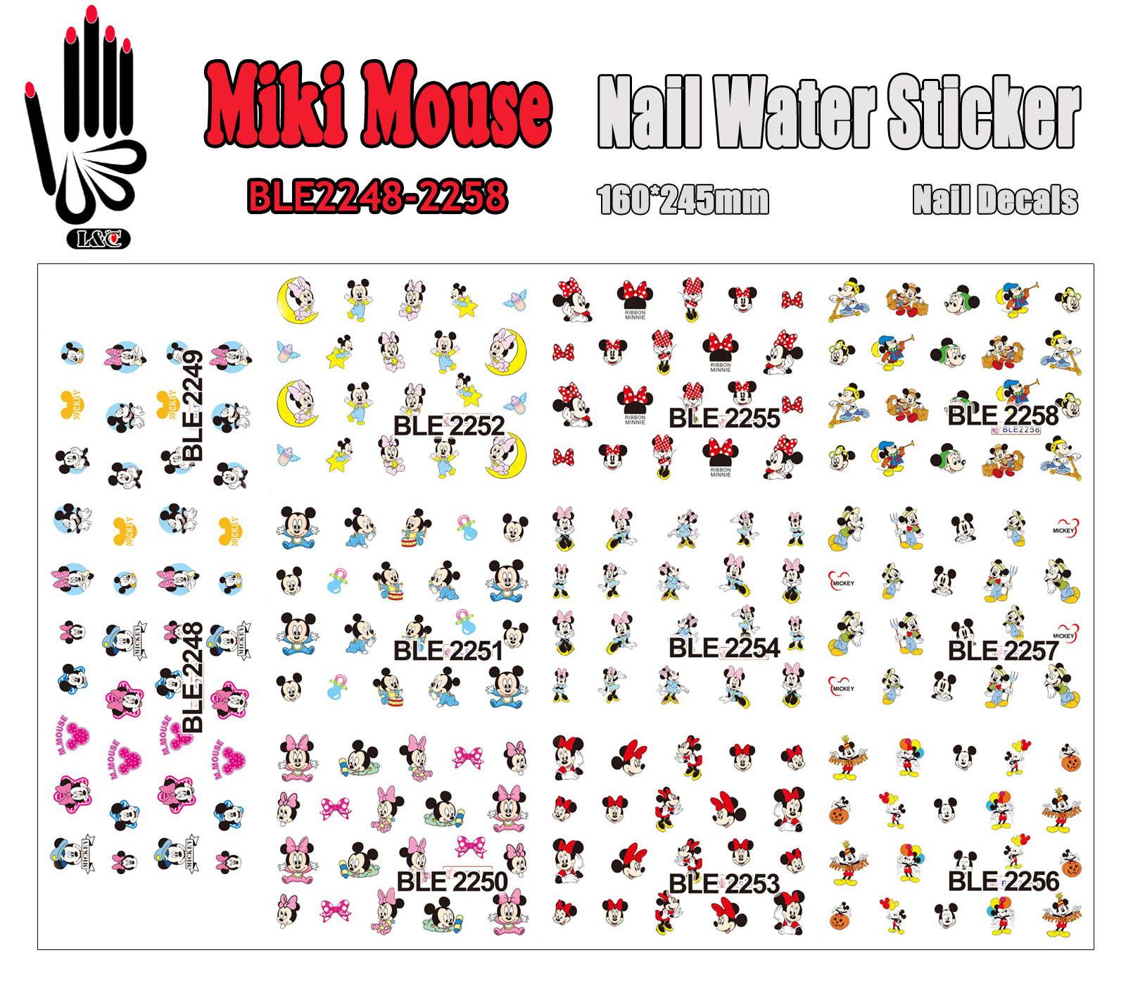 11 Sheets/Lot Nail Art BLE2248-2258 Cartoon Mouse Nail Art Water Transfer Sticker for Nail Wraps(11 DESIGNS IN 1)<br><br>Aliexpress