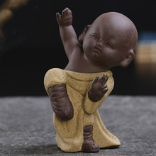 FF Little Monk Tea Pets Kung Fu Kid Purple Sand Ceramic Decoration Craft Tea Play Furnishing Articles home Decoration Ornaments(China)