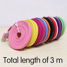 300cm High Quality Noodle Flat 3M (10 ft) Long 2.0 USB Charging Data Sync Cord Cable for Iphone 5 5s 5C 6 plus for ipad