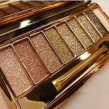Maquiagem 9 Colors Eyeshadow Palette Diamond Bright Makeup Eye Shadow Flash Glitter Make up Set with Brush Naked Cosmetics 25615(China)