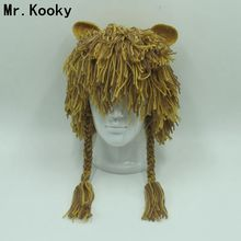 Mr.Kooky Adult Handmade Warm Durable Crazy Lion Wig Winter Hat Unique Gift Ideas Cap Men Women Party Halloween Christmas Beanies(China)