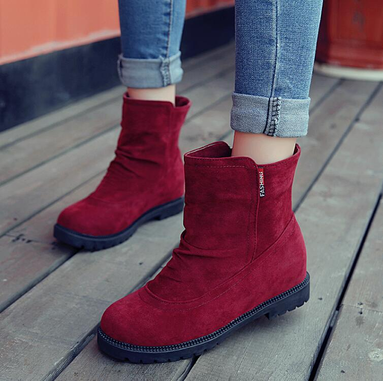 2016 Hot Sale arrival autumn boots woman 3 colors fashion solid ankle boots women casual flats shoes vintage ladies flat boots<br><br>Aliexpress