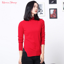 Menca Sheep Women Jumpers 100% Pure Goat Cashmere Sweaters Lady Fashion Half-turtleneck New Arrival Slit Knitwear Girls Pullover