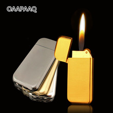 Ultra Thin Compact Jet Butane Lighter Grinding Wheel Gasoline Lighter Inflated Gas Frosted Mini Torch Lighter Bar Metal NO GAS