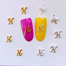 "10Pcs/Lot 6*7mm Gold and Silver Letter ""H""3D Design Metal Alloy Nail Art Decorations Nail Gel Sticker Decos for Women"