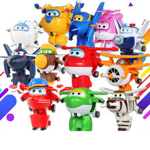 12pcs/lot Super Wings Mini Airplane ABS Robot toys Action Figures Super Wing Transformation Jet Animation For Kids Gift(China)