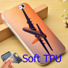 Beautiful Airplane in the Sky Soft TPU Phone Case for iPhone 7 6 6S Plus 4 4S 5C 5 SE 5S Cover