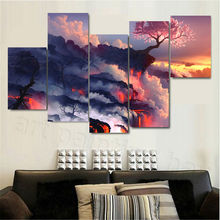 5Pc/set Large Canvas Painting Flame cherry Pictures Print Paintings Home Decor Wall Art Modular Pictures Unframed(China)