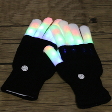 Newest Flashing Gloves Glow 7 Mode LED Rave Light Finger Lighting Mitt Toy finger led gloves 1 Pair