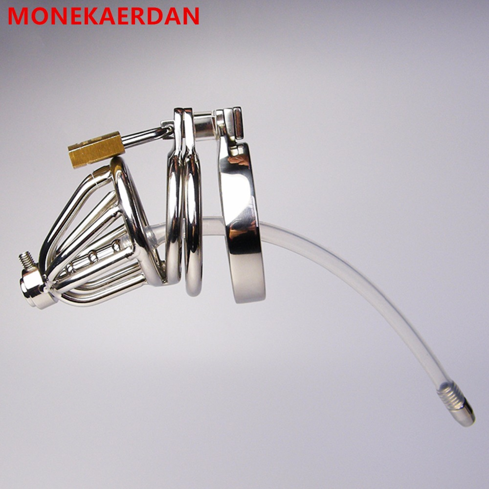 Male Penis Rings Cock Cage With Silicone Catheter , Stainless Steel Chastity Device , Fetish Adult Toys For Men - AJ30S<br>