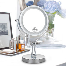6 Inch 5X Magnifying LED Lighted Double Size Makeup Mirror Stainless Steel 360 Degree Rotation Table Stand Mirror