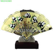 Gold plated copper Fan Metal Ornament Craft stereo handicraft furnishing articles new vintage business gift Desktop home Decor