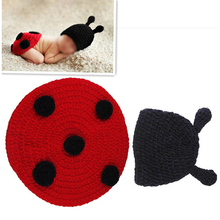 Ladybug Baby Infant Costume Photo Photography Prop Beanie Animal Hat Cap 0-6 Months Newborn