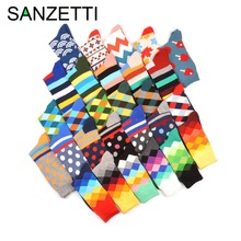 SANZETTI 5 pair/lot Happy Socks Oil Painting Combed Cotton Brand Harajuku Men Socks Colorful Dress knit Crew Long Funny Socks