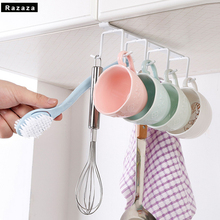New Iron Bathroom Organizer For Kitchen Storage Rack Shelf Cupboard Mug Coffee Cup Holder Hook Chest clothes Coat towel Hanger(China)