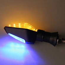 Good sale 4Pcs Flashing Motorcycle LED Turn Signal Light  12 Led Indicator Light Dual Color Blue&Amber Blinker Light