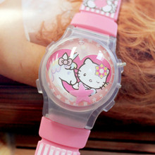 Hot Seller Waterball Funny Cartoon KT Watches For Children Wholesale 100pcs/lot Color Light Flashing Girl's Wristwatches New