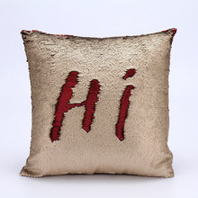Christmas cushion cover double sided sequins throw pillowcase new Year decoration for home popular mermaid pillow cushion covers(China)