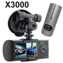 "X3000 HD GPS module Video recorder dual lens Car DVR Camera 2.7"" inch LCD 3D G-sensor camcorder Cycle Recording Digital Zoom"