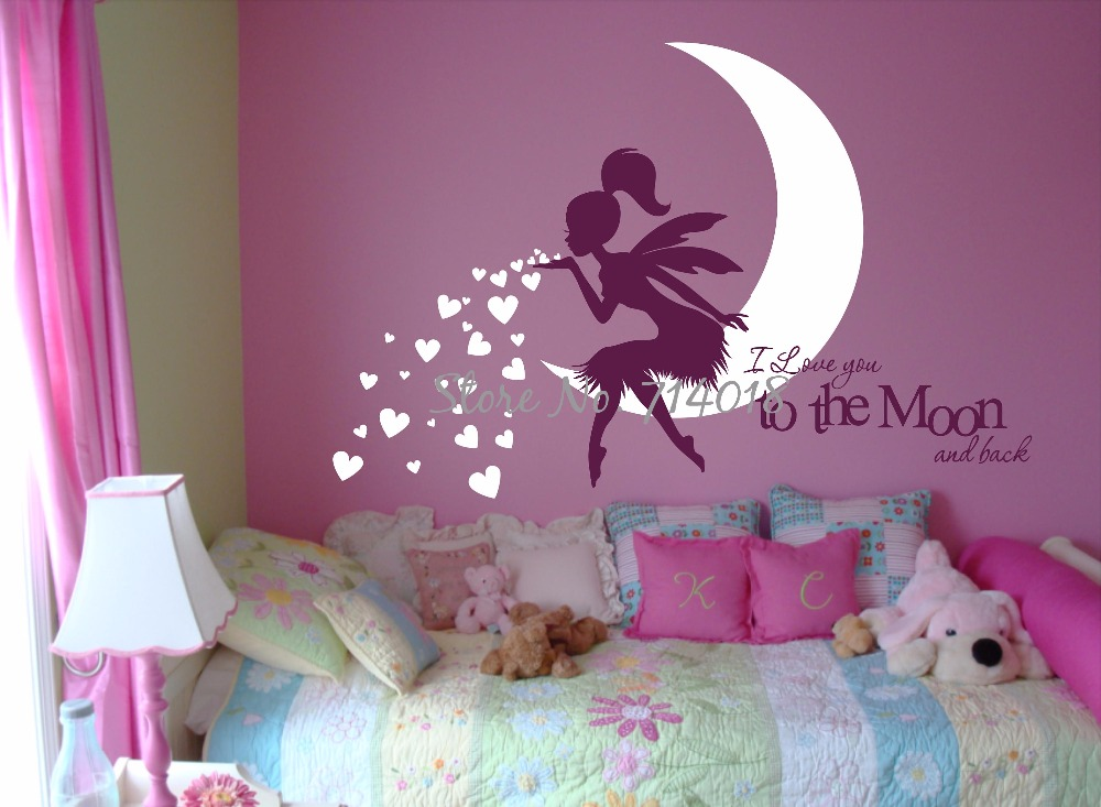 HTB11dTARVXXXXckXpXXq6xXFXXXH - Newest Fairy Wall Decal with Blowing Heart Kisses I Love you to the Moon and Back