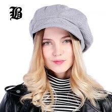 FLB  Super Artista quente Moda de Alta Qualidade Mulheres de Lã Cap Cúpula  Informal Chapéu Para As Mulheres Cap Boina Feminino . bd0deae6efb