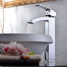 New Arrival Chrome Brass Faucets Bathroom Basin Mixer Tap single handle Waterfall Torneira Hot and Cold Taps 1153C(China)