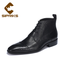 Sipriks mens goodyear welted ankle boots cap toes leather boots for men italian handmade black indian work boots european 2017