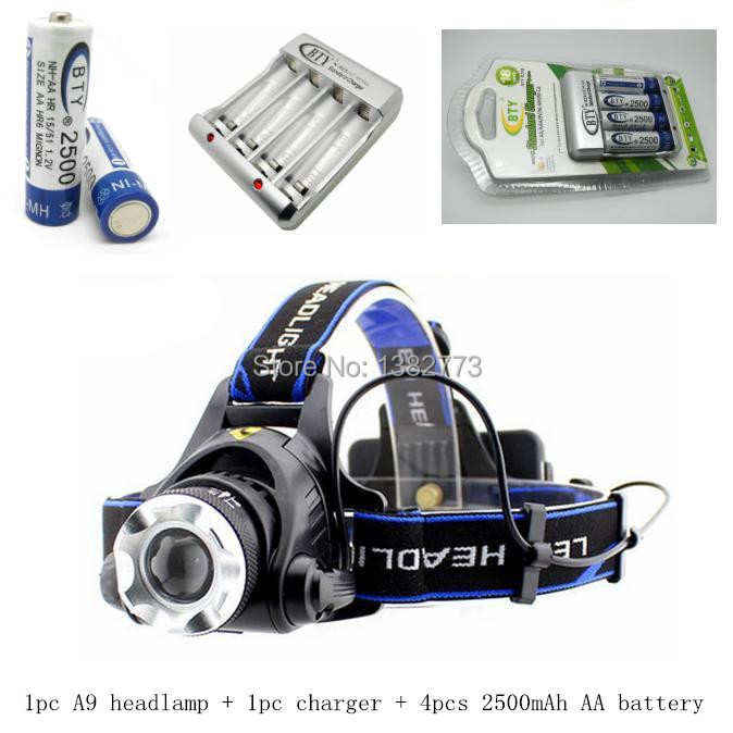 Free shipping 1200Lm CREE XM-L XML T6 LED Headlamp Rechargeable Headlight + 4* bty AA battery + Charger + Retail Box<br><br>Aliexpress