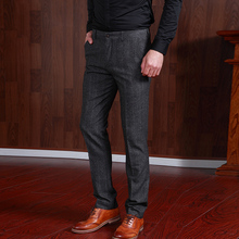 Pre Sale Men Dress Pants Slim Fit Formal 50% Wool Wedding Party Business Pant Slim Trousers For Man Grey Mens Suits Pant(China)