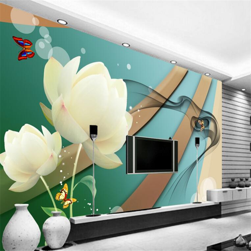 Fashion personality white lotus background photo wallpaper 3d living room bedroom wallpaper home decoration wall paper for walls<br><br>Aliexpress