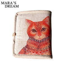 Mara's Dream 2017 Personalized Hand-painted Chinese Style National Wind Wallet Canvas Features Arts Lotus Pankou Purse Short(China)